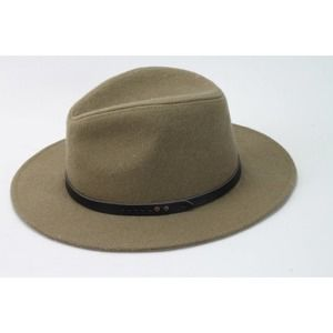 PHASE 3 Olive Green Wool Blend Panama Hat One Size